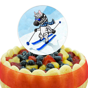 Zebra Skiing Cake Top Topper