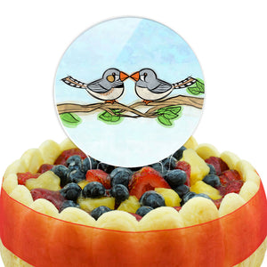 Zebra Finches Kissing Cake Top Topper