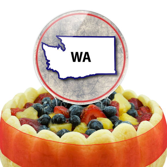Washington WA State Outline on Faded Blue Cake Top Topper