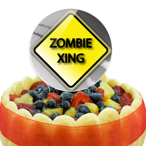 Zombie Xing Crossing Stylized Yellow Grey Caution Sign Cake Top Topper