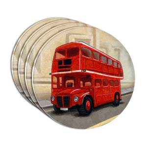 British Red Double Decker Bus Acrylic Coaster Set of 4