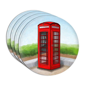 British Red Telephone Booth Acrylic Coaster Set of 4