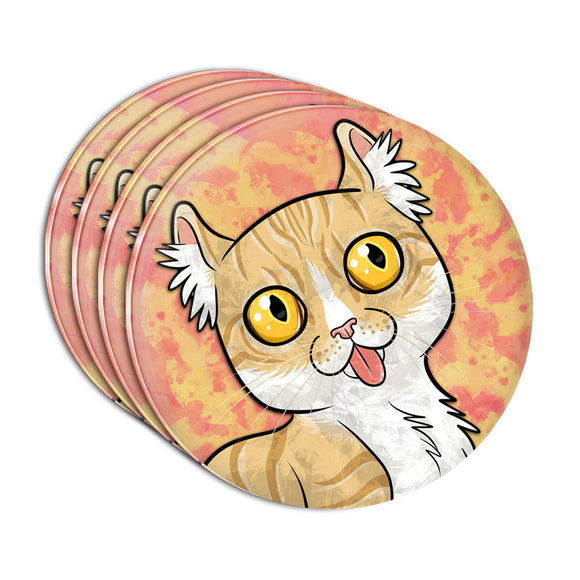 American Curl Cat with Tongue Hanging Out Acrylic Coaster Set of 4
