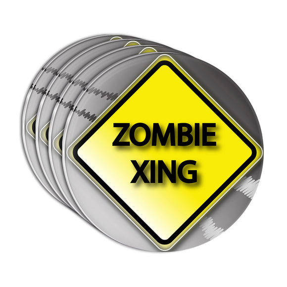 Zombie Xing Crossing Stylized Yellow Grey Caution Sign Acrylic Coaster Set of 4