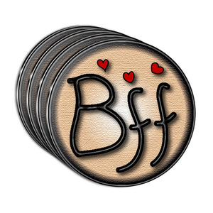 BFF Best Friends Forever Love Hearts Acrylic Coaster Set of 4