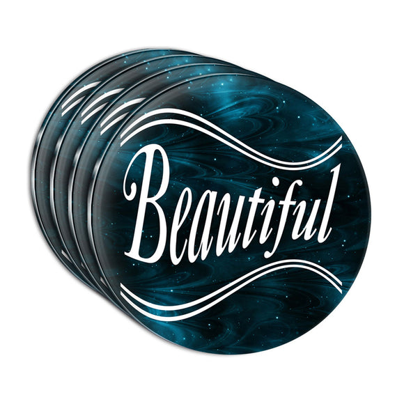 Beautiful on Blue Swirls Acrylic Coaster Set of 4