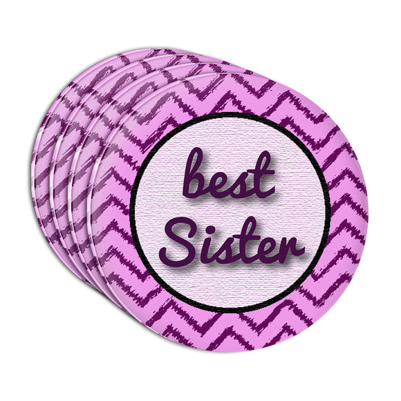 Best Sister on a Chevron Pattern Acrylic Coaster Set of 4