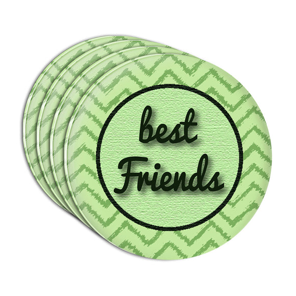 Best Friends on a Chevron Pattern Acrylic Coaster Set of 4