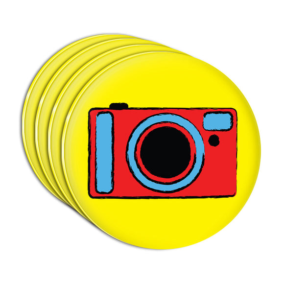 Camera Travel Picture Acrylic Coaster Set of 4