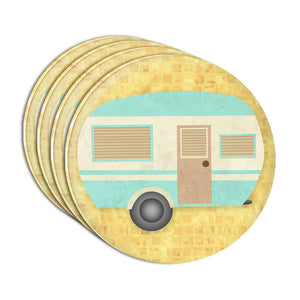 Camper Trailer RV Camping Acrylic Coaster Set of 4