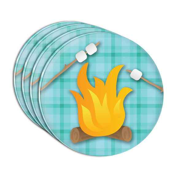 Campfire Camping Smores Roast Marshmallow Plaid Acrylic Coaster Set of 4