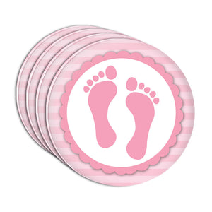 Baby Girl Footprints Acrylic Coaster Set of 4