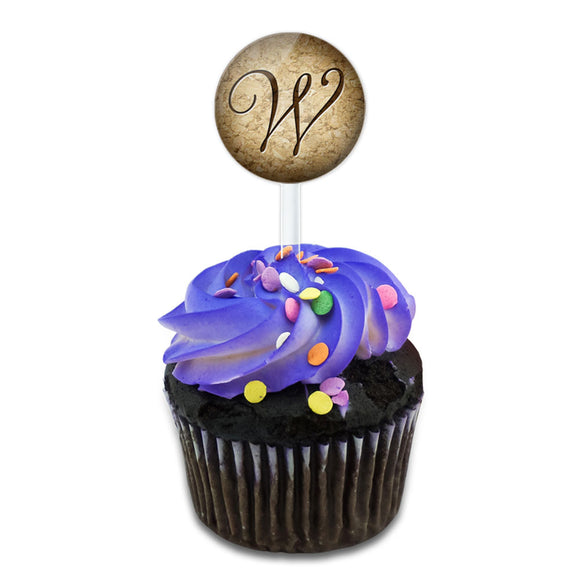 Letter W on Cork Design Cake Cupcake Toppers Picks Set