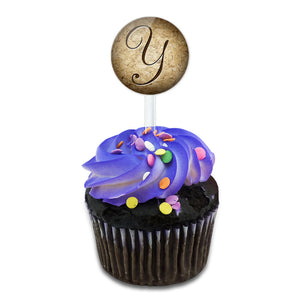 Letter Y on Cork Design Cake Cupcake Toppers Picks Set