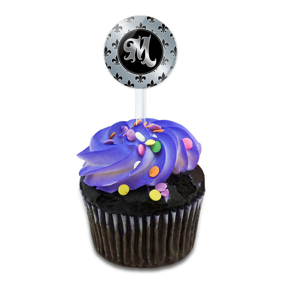 Letter M on Fleur De Lis Pattern Cake Cupcake Toppers Picks Set