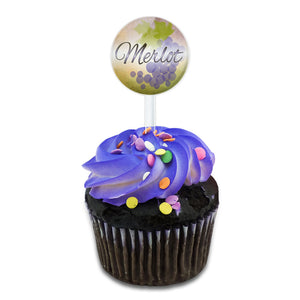 Merlot Grapes - Wine Vine Drinking Cake Cupcake Toppers Picks Set