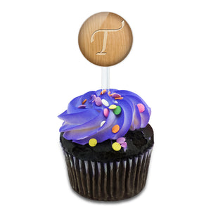 Letter T Wooden Engraving Cake Cupcake Toppers Picks Set