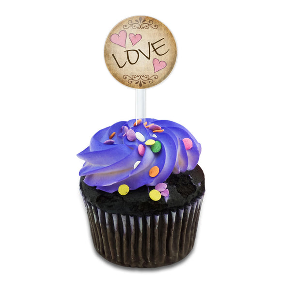 Love with Hearts Vintage Cake Cupcake Toppers Picks Set