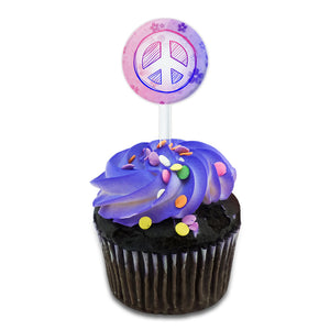 Peace Sign Flowers Pink Purple Cake Cupcake Toppers Picks Set