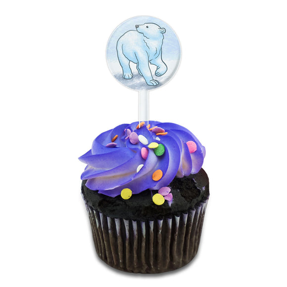 Polar Bear Cake Cupcake Toppers Picks Set