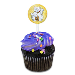 Lucky Beckoning Cat Maneki Neko Fortune Kawaii Cake Cupcake Toppers Picks Set