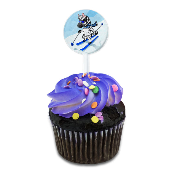 Zebra Skiing Cake Cupcake Toppers Picks Set
