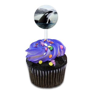 Orca Killer Whale Cake Cupcake Toppers Picks Set
