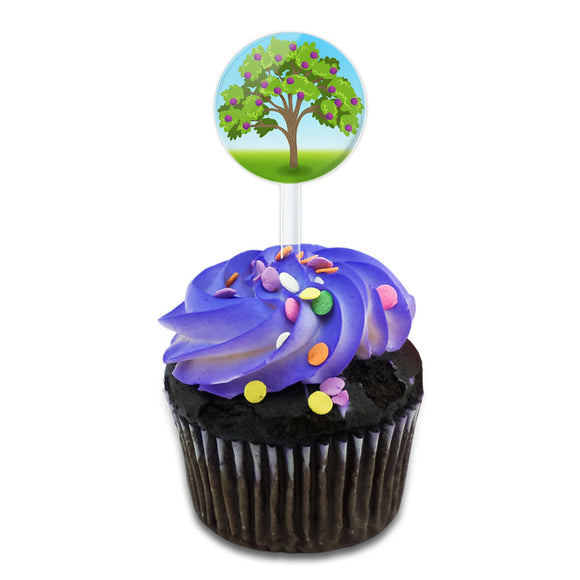 Punctual Plum Tree Cake Cupcake Toppers Picks Set