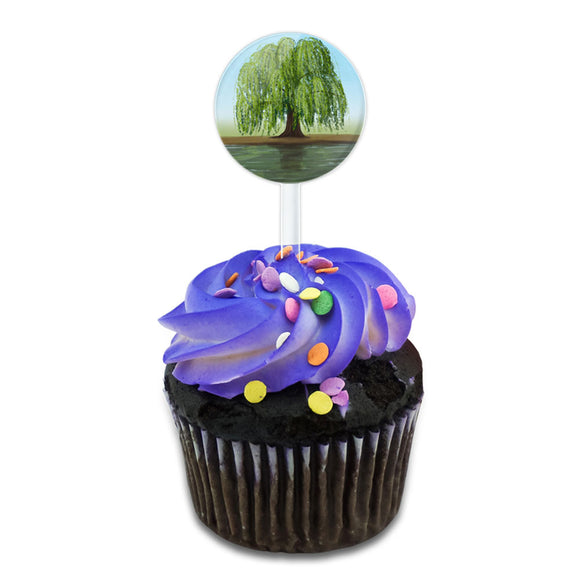 Old Weeping Willow Tree Cake Cupcake Toppers Picks Set