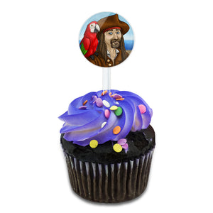 Pirate and His Parrot Cake Cupcake Toppers Picks Set