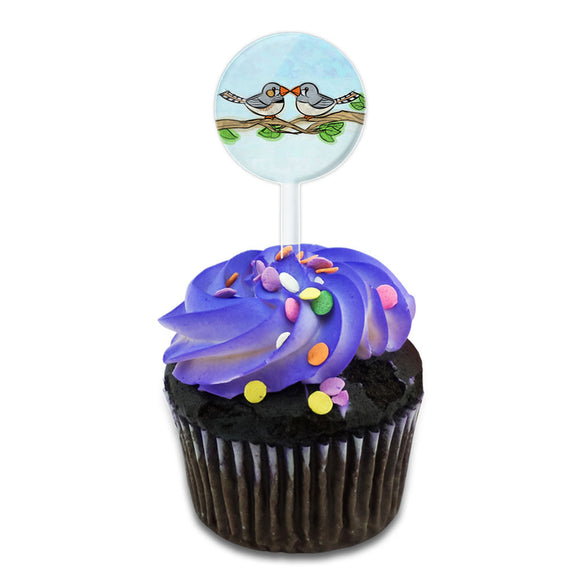 Zebra Finches Kissing Cake Cupcake Toppers Picks Set