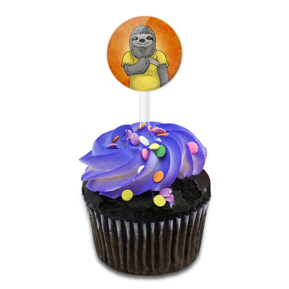 Portrait of a Sloth Cake Cupcake Toppers Picks Set