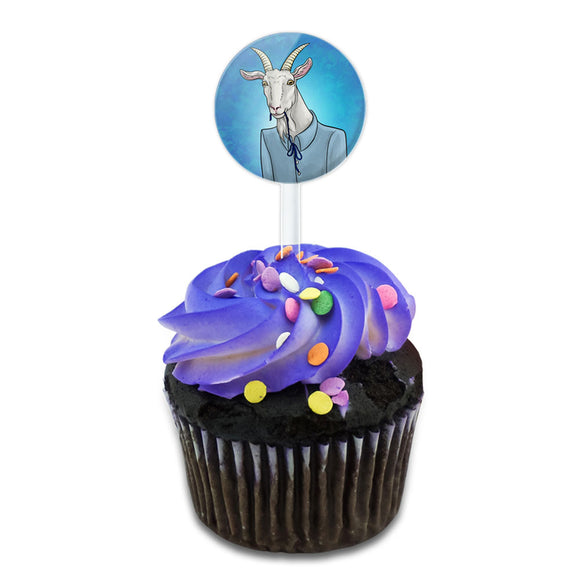Portrait of a Goat Cake Cupcake Toppers Picks Set