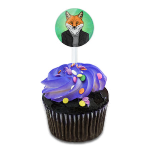 Portrait of a Fox Cake Cupcake Toppers Picks Set