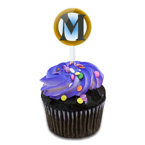 Letter M Initial Gold and Blue Pattern Cake Cupcake Toppers Picks Set