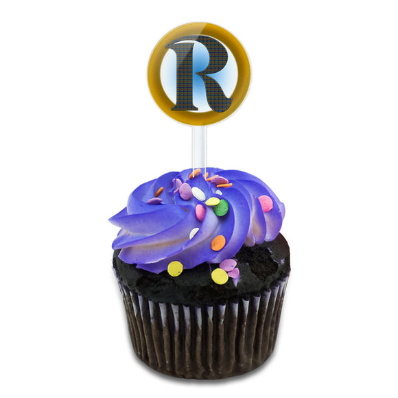Letter R Initial Gold and Blue Pattern Cake Cupcake Toppers Picks Set