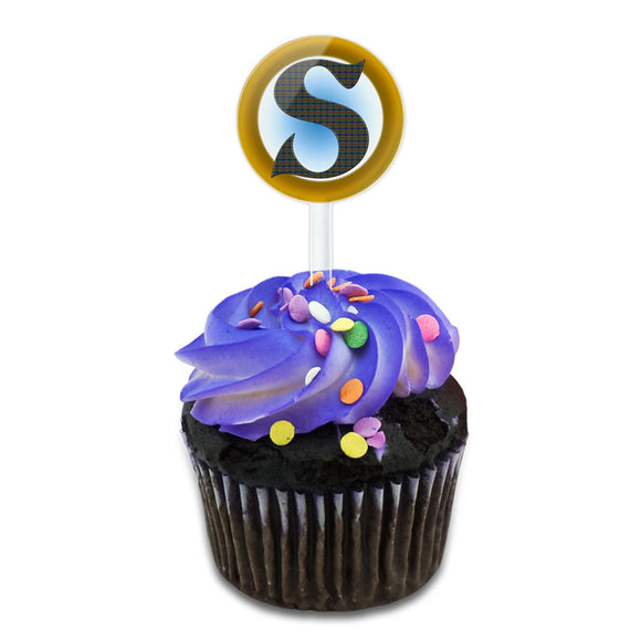 Letter S Initial Gold and Blue Pattern Cake Cupcake Toppers Picks Set