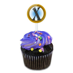 Letter X Initial Gold and Blue Pattern Cake Cupcake Toppers Picks Set