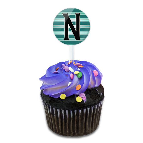 Letter N Initial Black Teal Stripes Cake Cupcake Toppers Picks Set