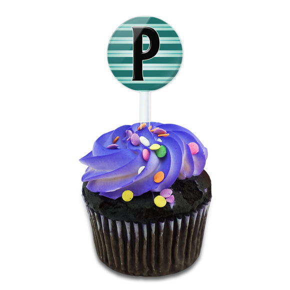Letter P Initial Black Teal Stripes Cake Cupcake Toppers Picks Set