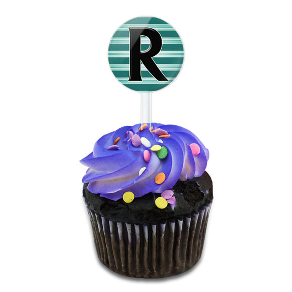 Letter R Initial Black Teal Stripes Cake Cupcake Toppers Picks Set