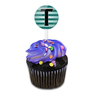 Letter T Initial Black Teal Stripes Cake Cupcake Toppers Picks Set