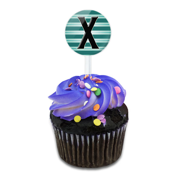 Letter X Initial Black Teal Stripes Cake Cupcake Toppers Picks Set
