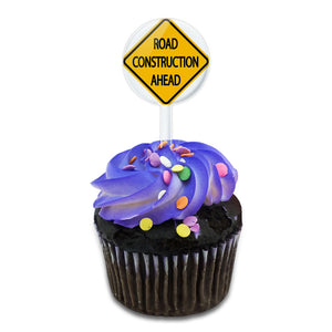 Road Construction Ahead Basic Road Sign Cake Cupcake Toppers Picks Set
