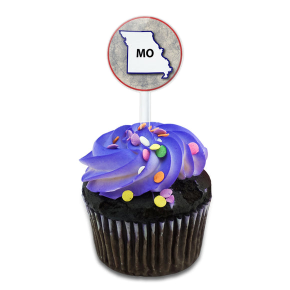 Missouri MO State Outline on Faded Blue Cake Cupcake Toppers Picks Set