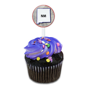 New Mexico NM State Outline on Faded Blue Cake Cupcake Toppers Picks Set