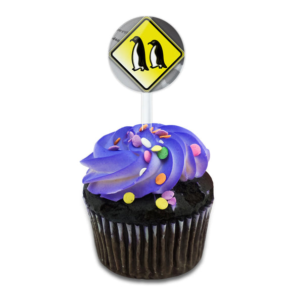 Penguins Crossing Road Yellow Grey Caution Sign Cake Cupcake Toppers Picks Set