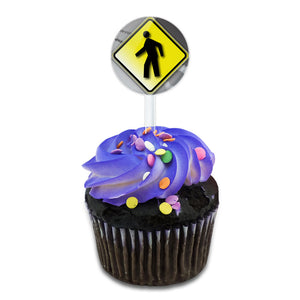 Pedestrian Crossing Road Yellow Grey Caution Sign Cake Cupcake Toppers Picks Set