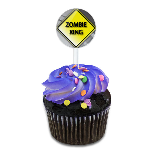 Zombie Xing Crossing Stylized Yellow Caution Sign Cake Cupcake Toppers Picks Set