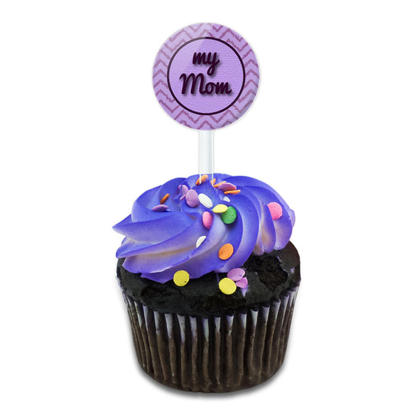 My Mom on a Chevron Pattern Cake Cupcake Toppers Picks Set